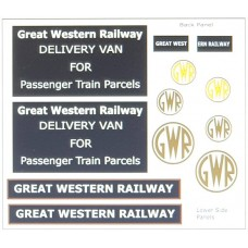 T19G25D1 GWR Waterslide Tranfers for G25 Traders Van (OO Scale 1/76th)