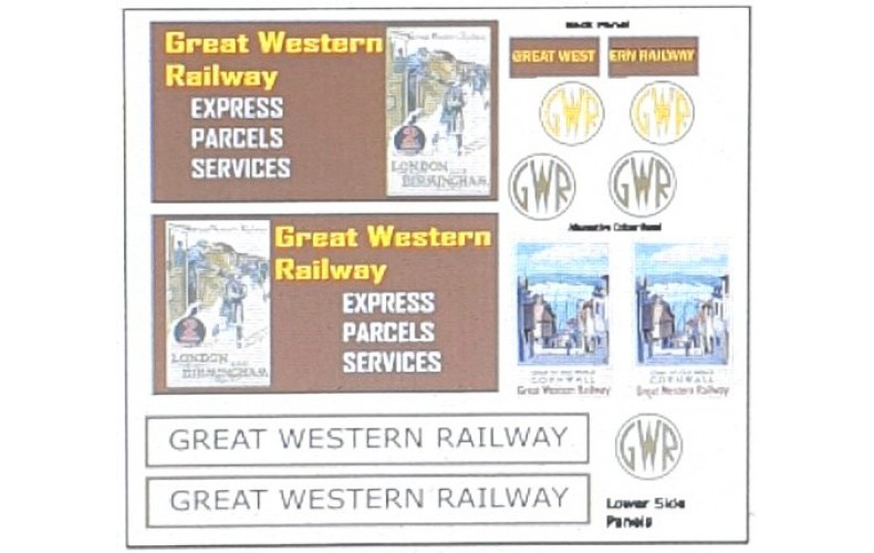 T19G25D2 GWR Waterslide Transfers for G25 Traders Van (OO Scale 1/76th)